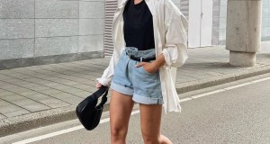 衬衫+短裤,露的时尚